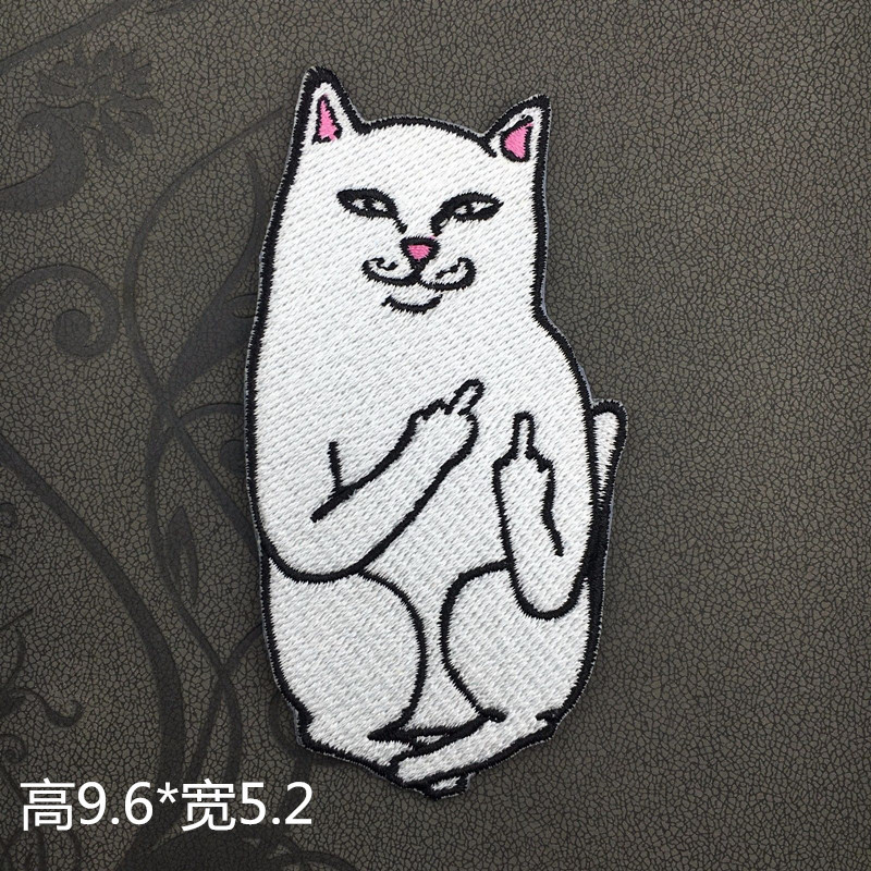 New Style Embroidered The Finger Cat Middle Finger Pocket Cheap Cat Accessories Gum Ironing Repair Down Jacket Patch
