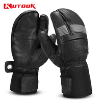 KUTOOK Thermal Mitten  Bicycle Gloves Inner Waterproof Pocket  Fleece Gloves Fist Protection Ski Motorcycle MTB  Skiing Gloves