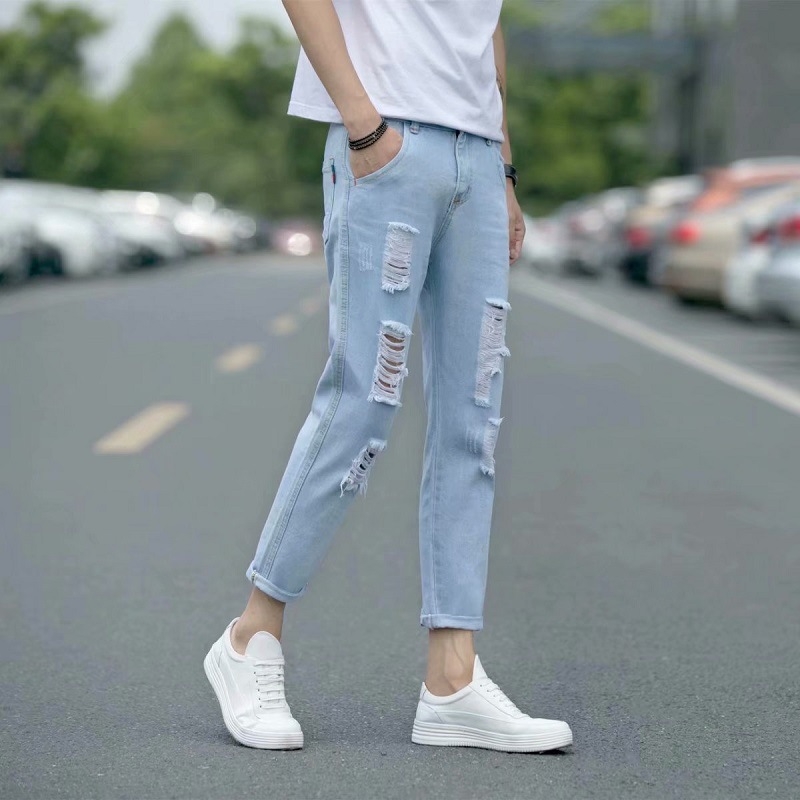 With Holes Elasticity Jeans Teenager Spring And Summer-Slim Fit Pants Korean-style Trend Men Versatile Beggar Capri Pants