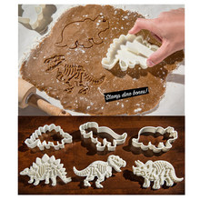 3D Dinosaur Cookies Cutter Mold Dinosaur Biscuit Embossing Mould Sugarcraft Dessert Baking Silicone Mold for Sop Cake Decor Tool