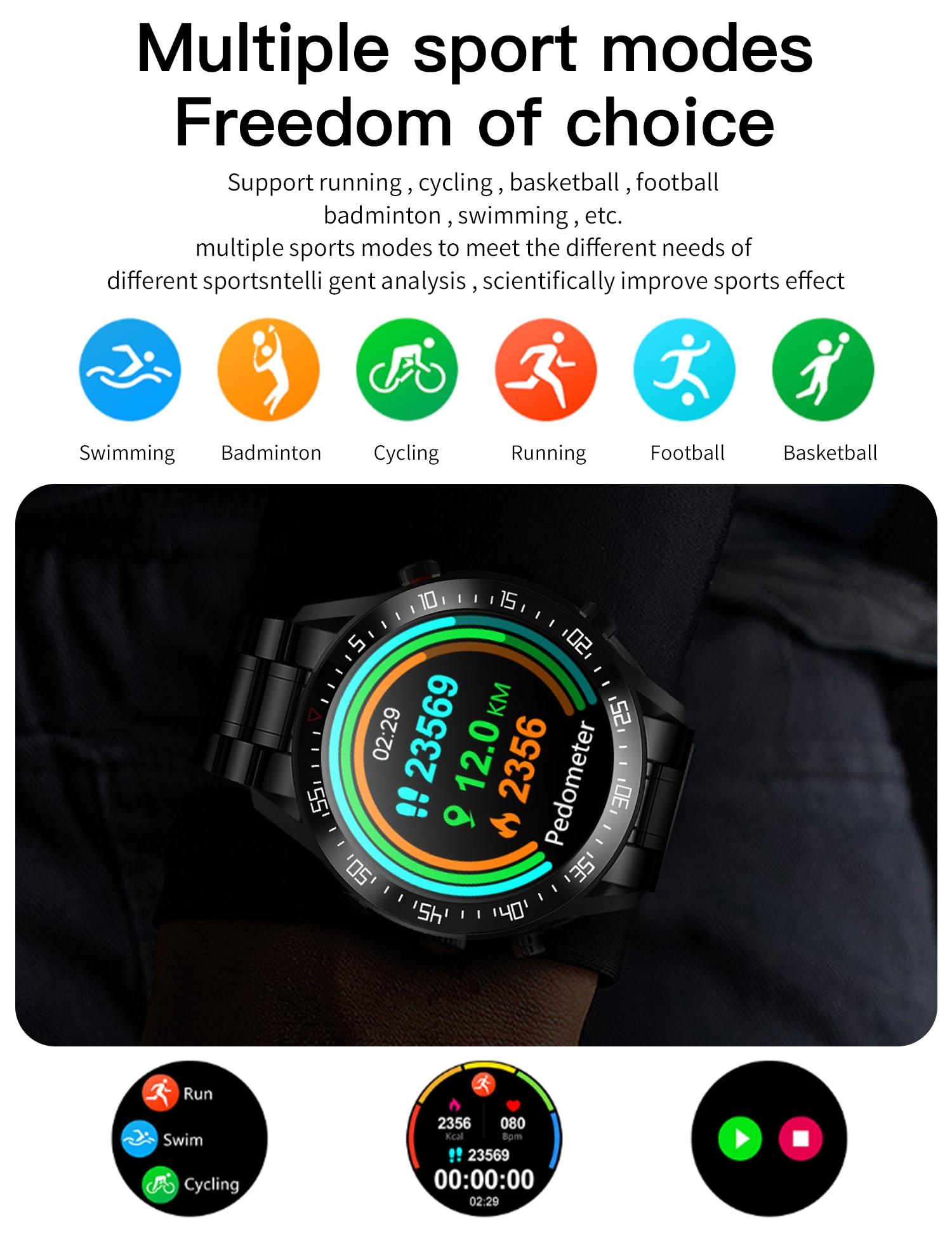 H027976920b584556a536136e0e19508a0 XUESEVEN 2021 HD Full circle touch screen Mens Smart Watches IP68 Waterproof Sports Fitness Watch Fashion Smart Watch for men