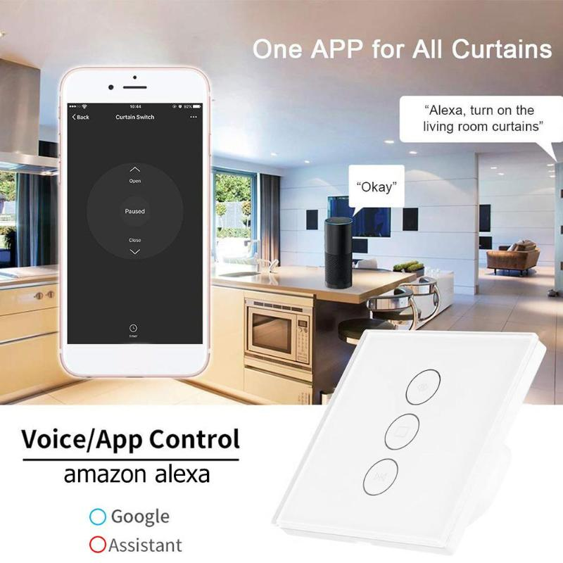Smart WiFi Switch For Electric Motorized Curtain Blind Roller Shutter Touch APP Distance Within Wifi 30m Remote Unrestricted