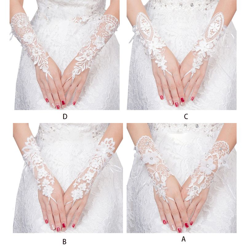 Women Bridal Short Wedding Gloves Fingerless Imitation Pearl Rhinestone Jewelry Embroidery Floral Lace Prom Party Costume