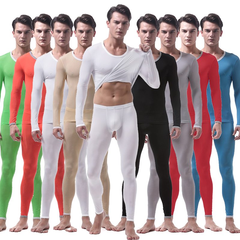 Men's Thermal Underwear Suit Sexy Ultra-thin Long Johns Lce Silk Translucent Lounge Pajamas Men Tights Undershirt leggings sets