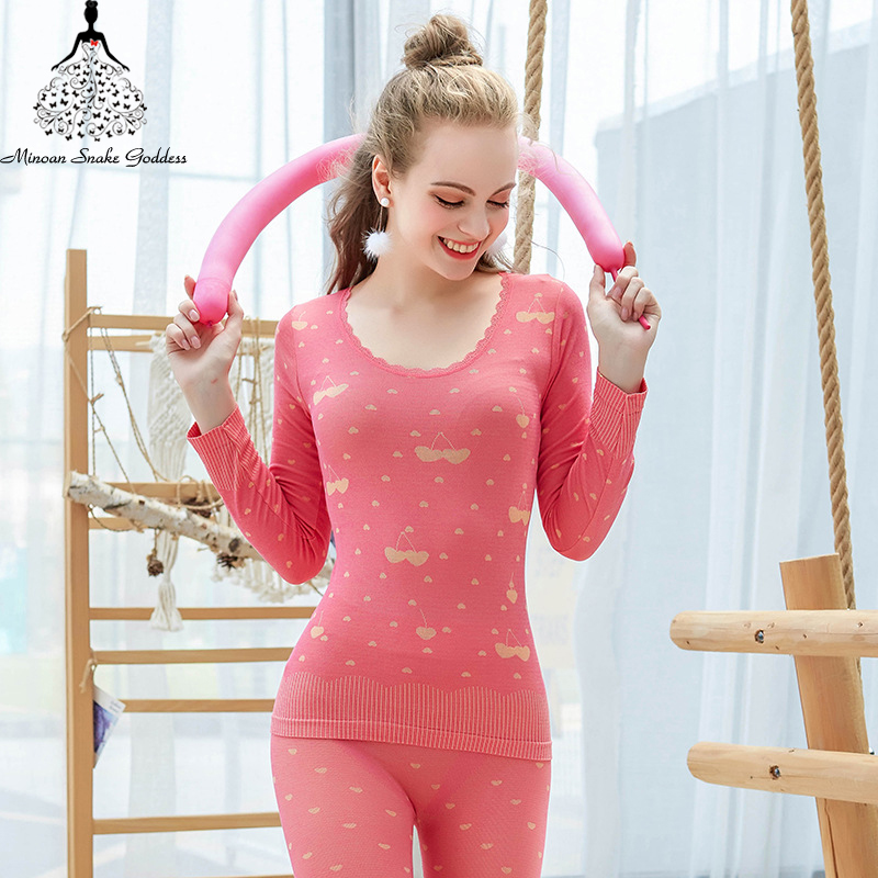 Winter Women's Thermal Underwear Warm Long Johns For Female Thermo Lingerie Second Skin Underwear Set Home Clothes