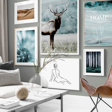 Dandelion Forest Deer Desert Girl Body Animal Nordic Posters And Prints Wall Art Canvas Painting Pictures For Living Room