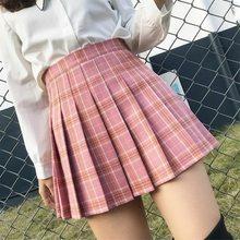 Meninas dança mini saia XS-3XL xadrez verão saia feminina 2020 costura de cintura alta estudante saias plissadas feminino bonito doce