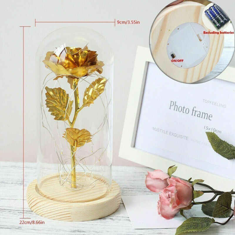 Valentines day gifts for her him Immortal Preserved Rose Flower with Glass Dome