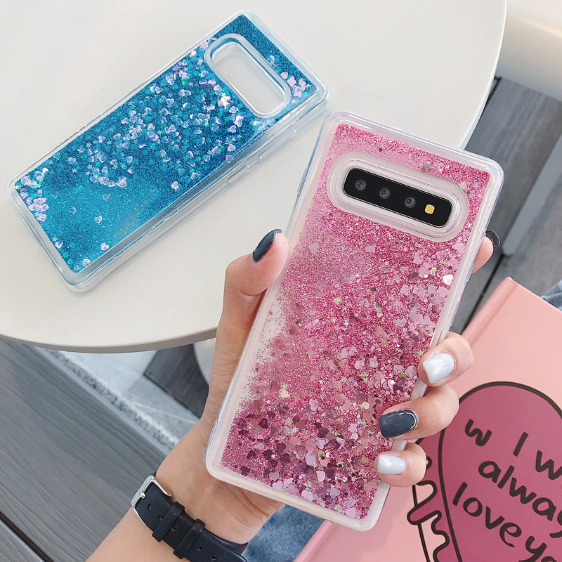 For <font><b>Samsung</b></font> Galaxy <font><b>S10E</b></font> S8 S9 S10 Note 10 Plus 8 9 Love Heart Stars Liquid Sand Quicksand Glitter Case With Sparkles Cover <font><b>Capas</b></font> image