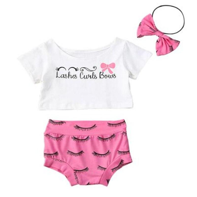 0-24M Newborn Toddler Baby Girls Clothes Sets White Short Sleeve Print T Shirts Tops+Pink Eyelashes Print Shorts Pants Headband