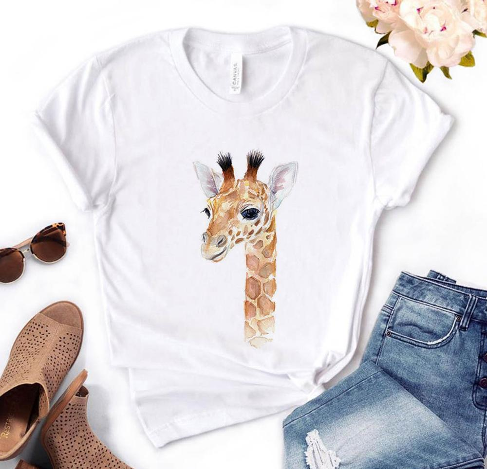 Giraffe Looking Print Women Tshirts Cotton Casual Funny T Shirt For Lady  Yong Top Tee Hipster PH-42