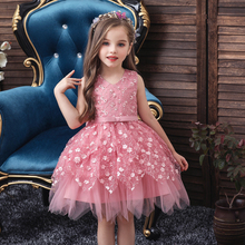 Vgiee Princess Dress for Girls Kids Baby Little Clothing Knee-Length Mesh Flowers Party Dresses CC611