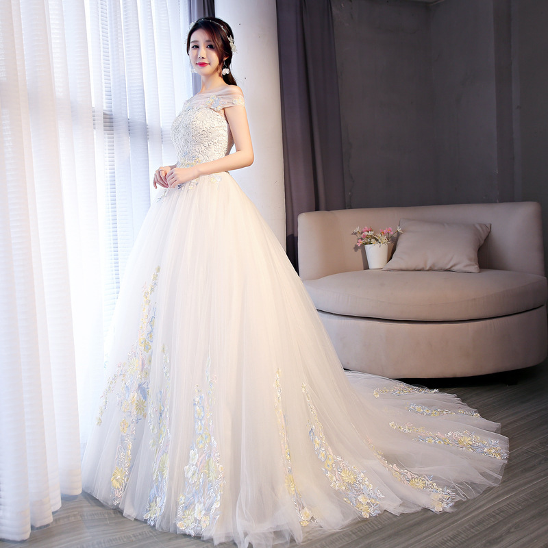Bridal Real Short Tailing Korean Sweet Show Thin Shoulder Card Lace Three-dimensional Flower 2020 New Color Performance Clothes