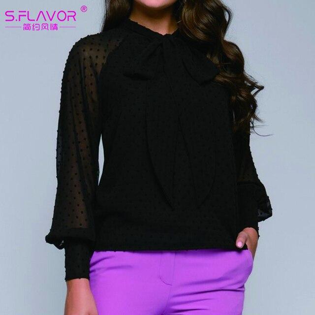 S.FLAVOR Fashion Women Casual Bow Tie Tops Ladies Chiffon Shirt Blouse Long Sleeve Ploka Dot Elegant Female Summer Clothes