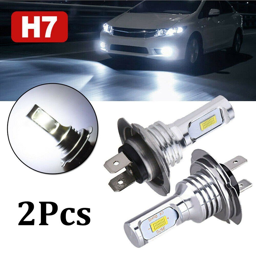OLOMM Pair H7 Car LED Headlight Kit Hi-Lo Beam Fog Lights 55W 8000LM LED Lamps/Light Bulbs For Cars Super Bright 6000K White