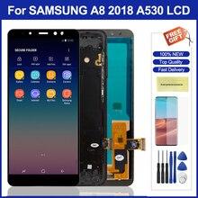 5.6 lcd aa530 lcd com moldura para samsung galaxy a8 2018 a530 display lcd de toque digitador da tela peças montagem para samsung a530