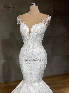 Image 3 - Liyuke 2020 Designer Mermaid wedding dress real work full beading bridal make up