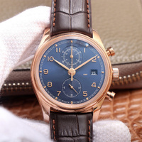 Reloj mecánico automático para hombre TLXT IW390305, cronógrafo multifunción, esfera azul, oro rosa, cuero, réplica, 1:1