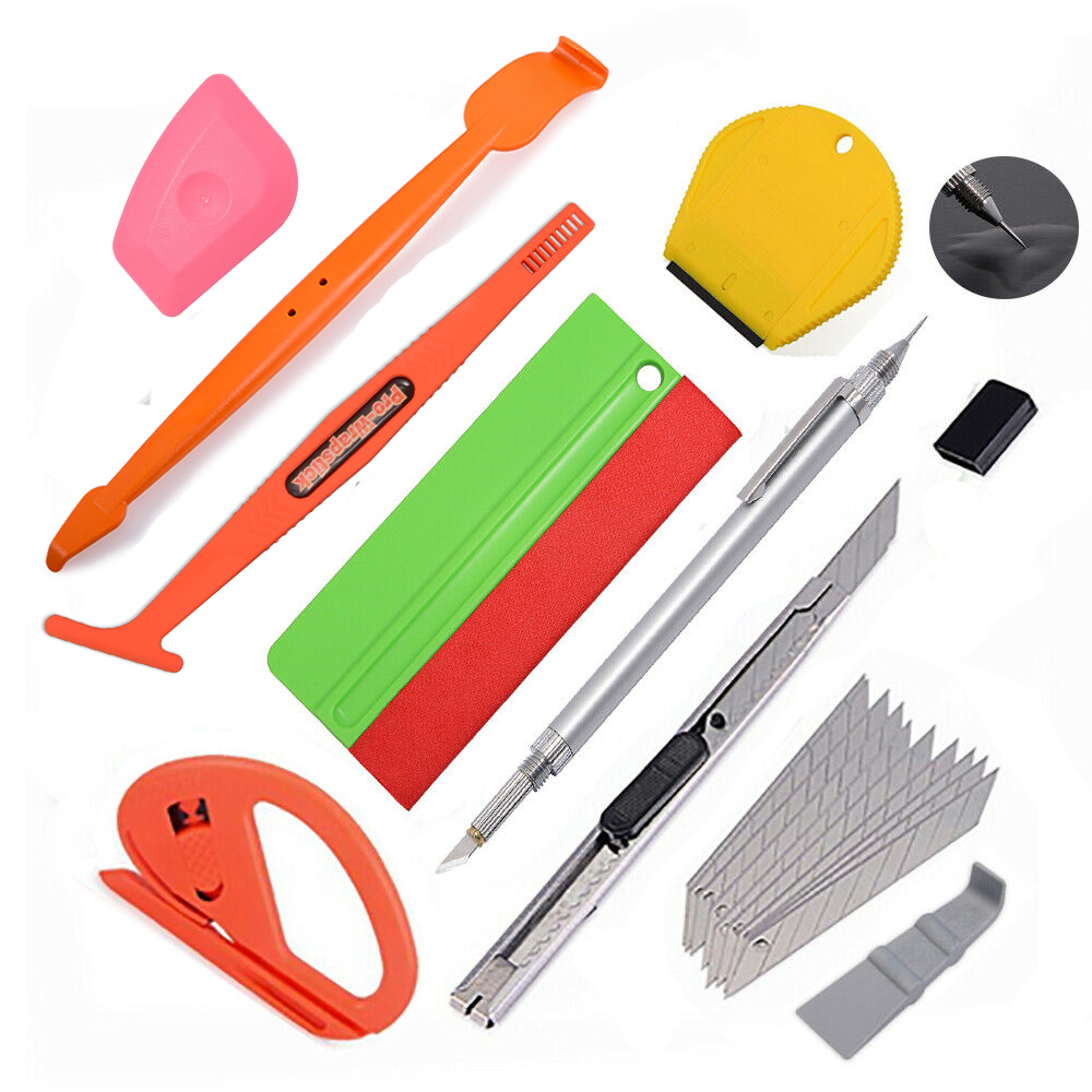 EHDIS Car Tools Set Carbon Fiber Vinyl Wrap Film Stick Squeegee Sticker Air Remove Pen Window Tinting Tool Vehicle Cleaning Tool