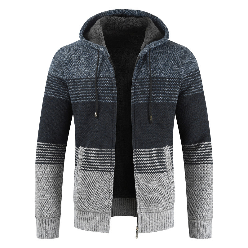 New Fashion Winter Cardigan Men Casual Hooded Collar Thick Warm Fleece Sweater Men Partchwork Striped Mens Sweaters