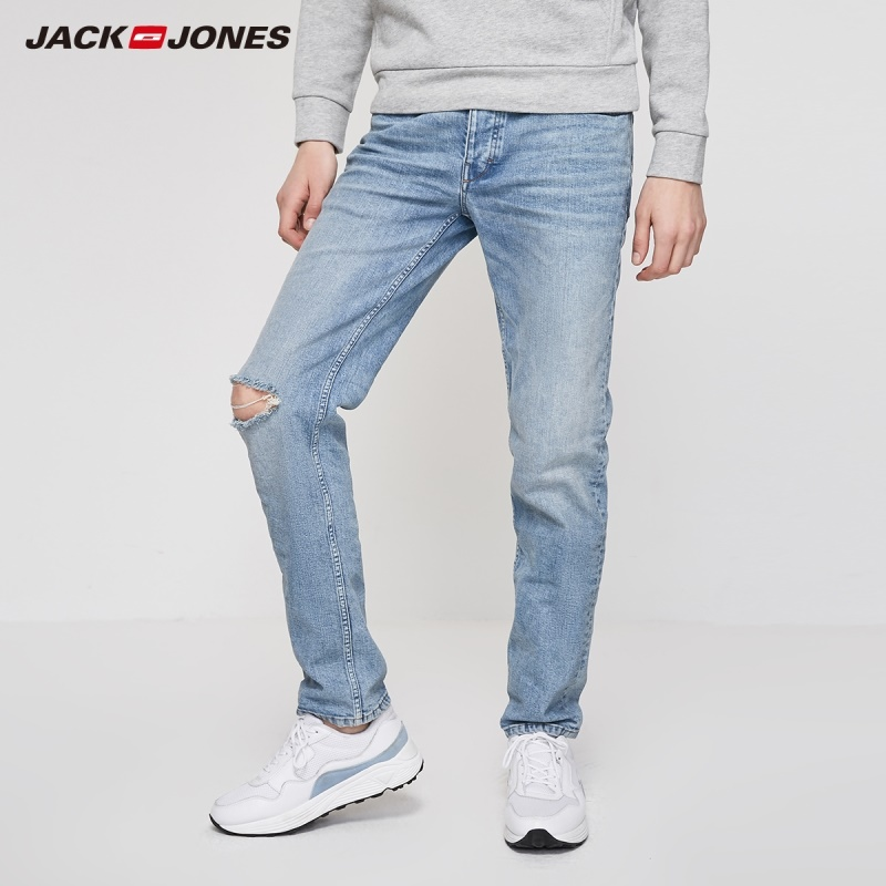 JackJones Men's Straight Fit Washed Ripped Style Classic Jeans| 219232526