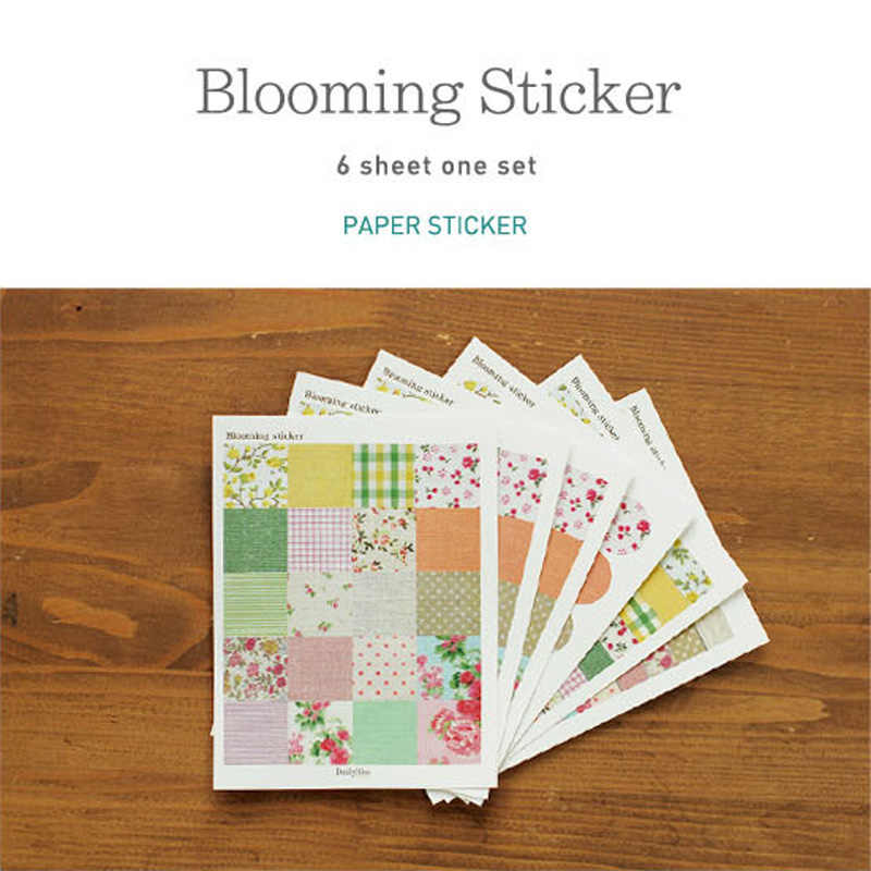 6pcs/pack NEW Flowers Blooming Sticker Cute DIY Note Sticker Decoration Label Multifunction Stickers Scrapbooking