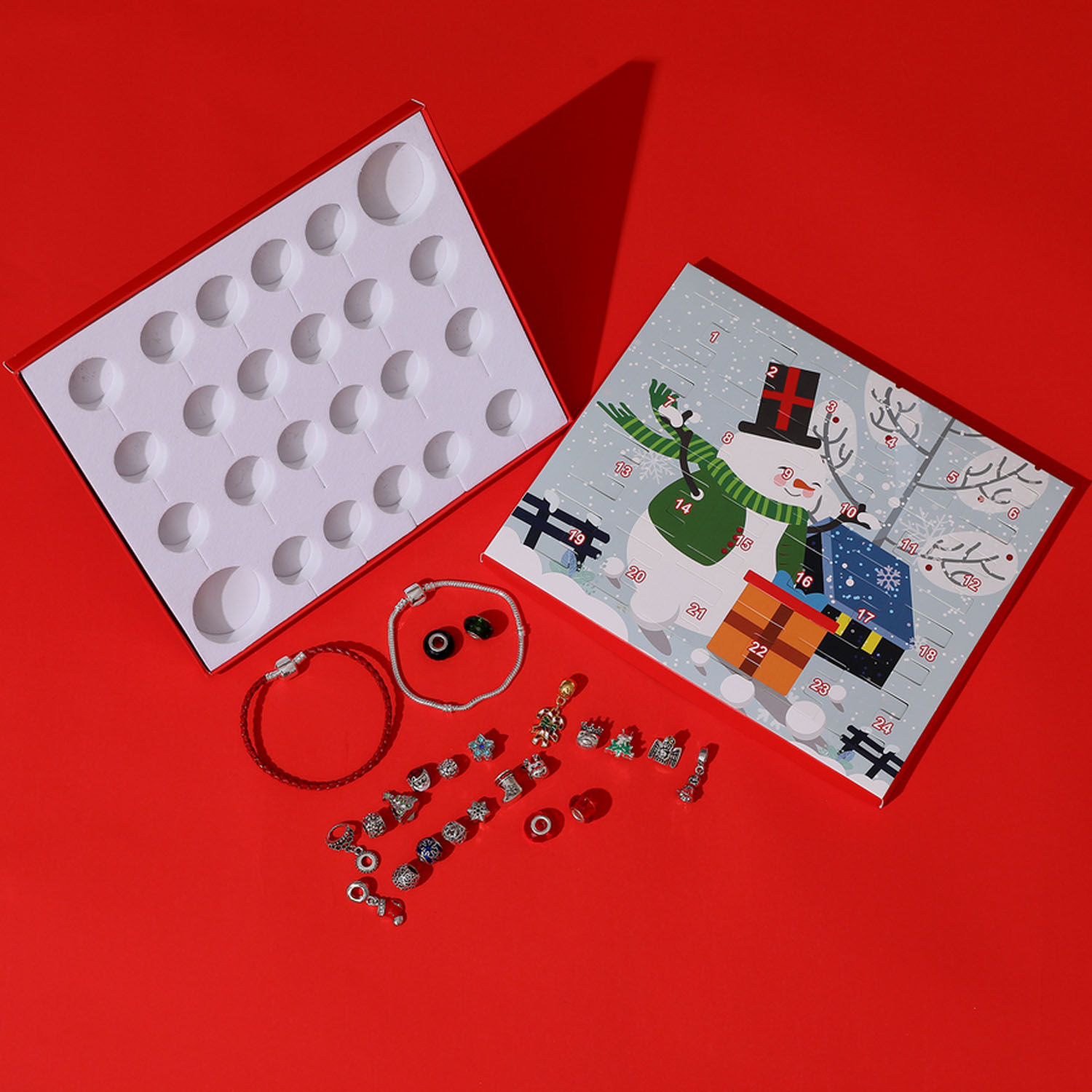 DIY Charm Bracelet Jewelry Advent Calendar Countdown To Christmas Gift Set Snowman Box For Children Adults 2 Chains 22 Beads