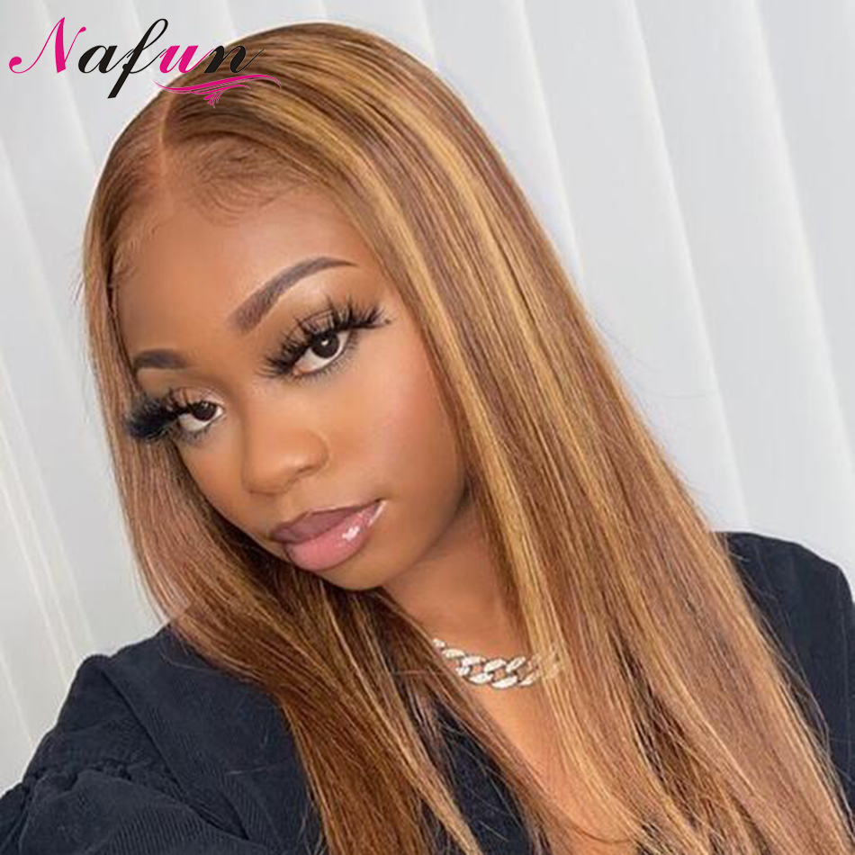 NAFUN 99j #30 #27 13x4 Lace Front Human Hair Wigs Peruvian Straight Lace Front Wigs For Women Remy 150% Density Swiss Lace Wig