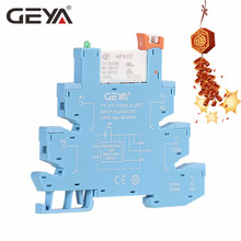 GEYA Din Rail Relay Mount On Screw Socket with LED and Protection Circuit 24VDC/AC or12VDC/AC Hongfa Relay ptf14a e 14 screw terminal relay socket base din rail for hh64p y4nj