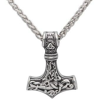Viking Thor Hammer Amulet Scandinavian Mjolnir Pendant Necklace  Viking Necklace