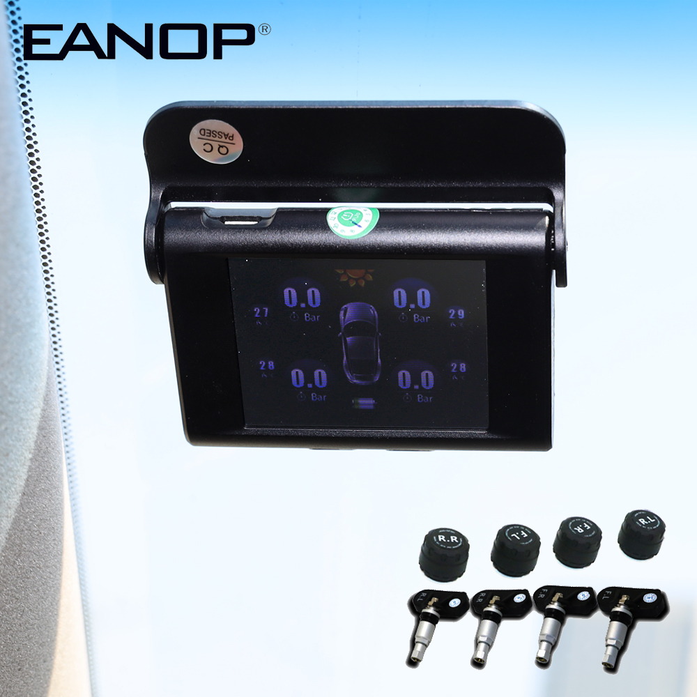 EANOP S368 Solar TPMS 2.4 Inch Car Tire Pressure Monitoring System 4pcs Internal External Sensors  Alarm For Universal Cars