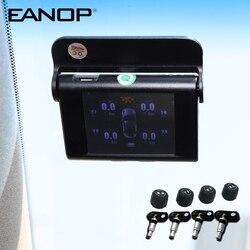 EANOP S368 الشمسية TPMS 2.4 بوصة سيارة نظام مراقبة ضغط الإطارات 4 قطعة أجهزة الاستشعار الداخلية الخارجية إنذار للسيارات العالمي