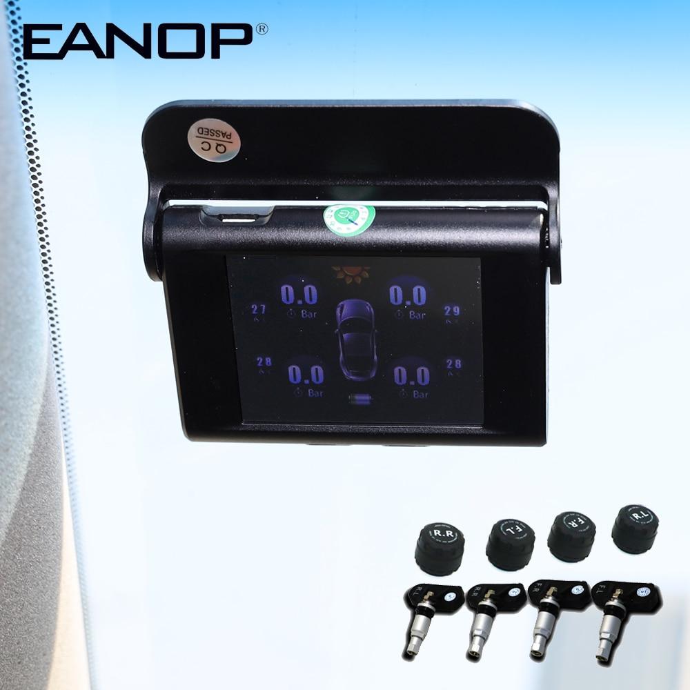 Eanop S368 Solar Tpms 2.4 Polegada Carro Sistema De Monitoramento Pressão Dos Pneus 4pcs Sensores Externos Internos Alarme Para Carros Universais