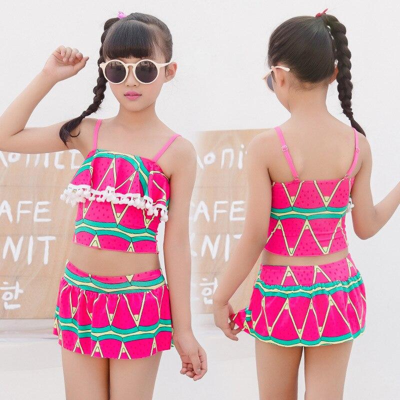 Swimsuit Girls Split Type Two Pieces Fashion Lace Cute Plaid Princess Dress-Children Swimming Suit NT493147