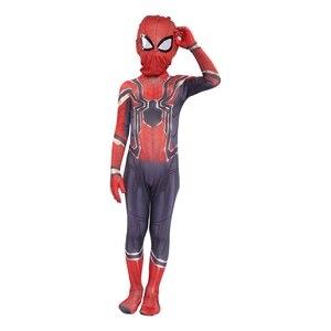 Image 5 - Kids Spider Zentai Unisex Halloween Zentai Cosplay Costume Spider Spandex Lycra Bodysuit Jumpsuits Iron Spider