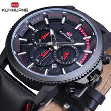 Hot Sale Cool Mens Sport Watches Black 3 Sub Dial Date Stopwatch Genuine Leather Belts Quartz Wrist Waterproof Relogio
