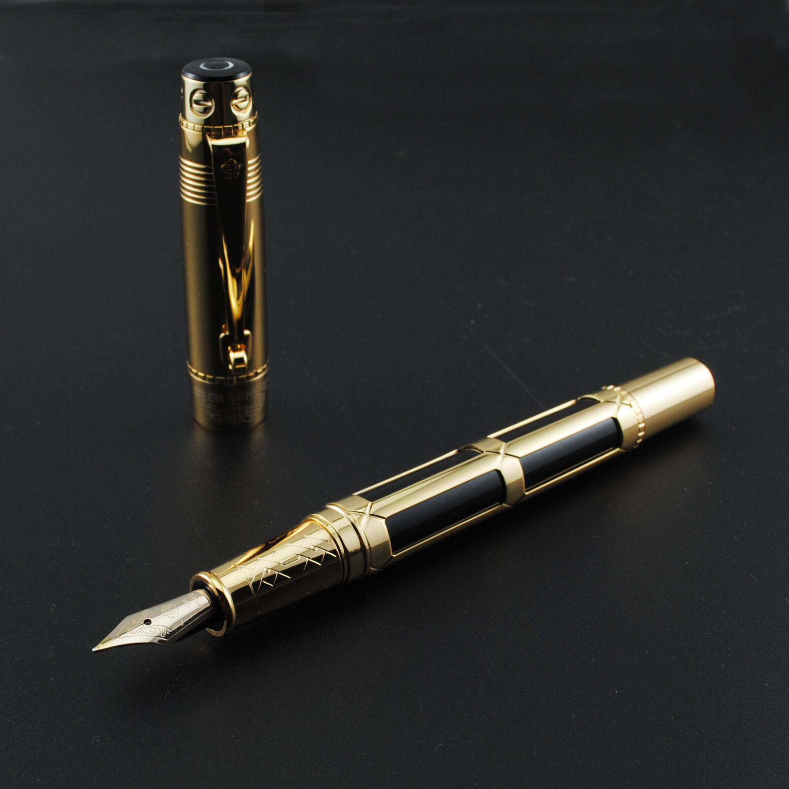 Old Stock Wing Sung Fountain Pen Metal Ink Pen Converter Filler F Nib Business Stationery Office School Supplies Writing Gift
