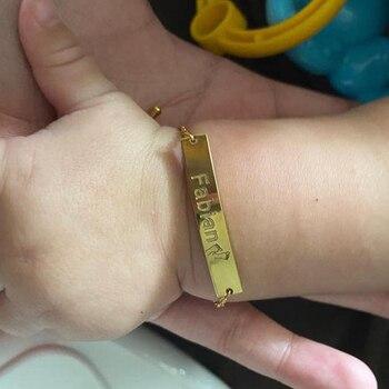 Lemegeton Custom Bracelet ID Name Date Bracelet women Men Kids Stainless Steel Bracelets friendship bracelets couple Bracelet фото