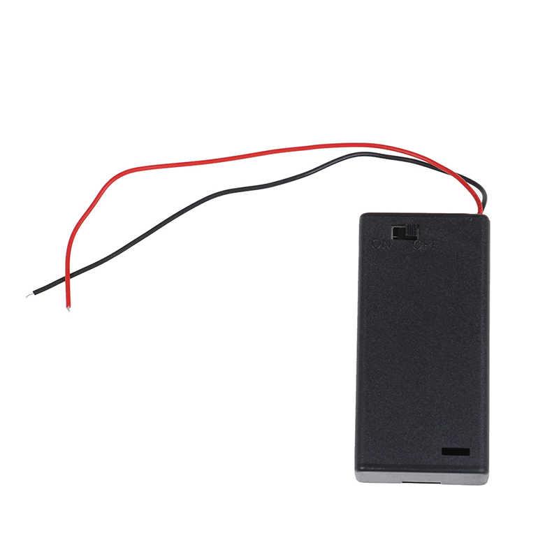New AA 3V Hitam Holder Konektor Penyimpanan Case Kotak ON/OFF Switch dengan Kawat Ringan dengan 2 Kabel