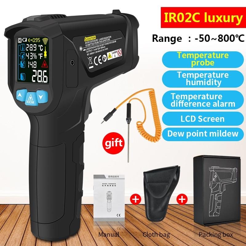 Бесконтактный инфракрасный термометр с K-зондом, лазерный Цифровой Пистолет-термометр, гигрометр, пирометр с ЖК-дисплеем