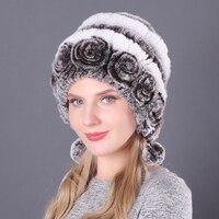 Gran oferta de invierno de las mujeres flores rayas Natural piel de conejo Rex auténtica sombreros de señora de punto cálido genuino gorros con pelo ruso al aire libre sombreros de piel