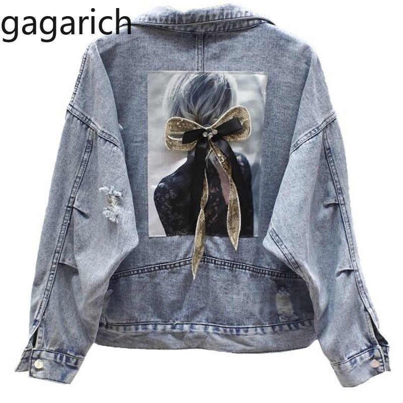 Gagarich delik kot ceket kadın yıpranmış Denim ceket kısa gevşek bahar sonbahar Harajuku Chaquetas Mujer 2020 Jaqueta Feminina