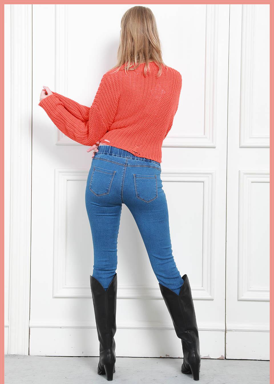 Autumn Winter minimalist Women Denim Skinny Stretch Fake Front Pocket Medium Waist Washed Blue Slim Elastic Lady Jeans 13