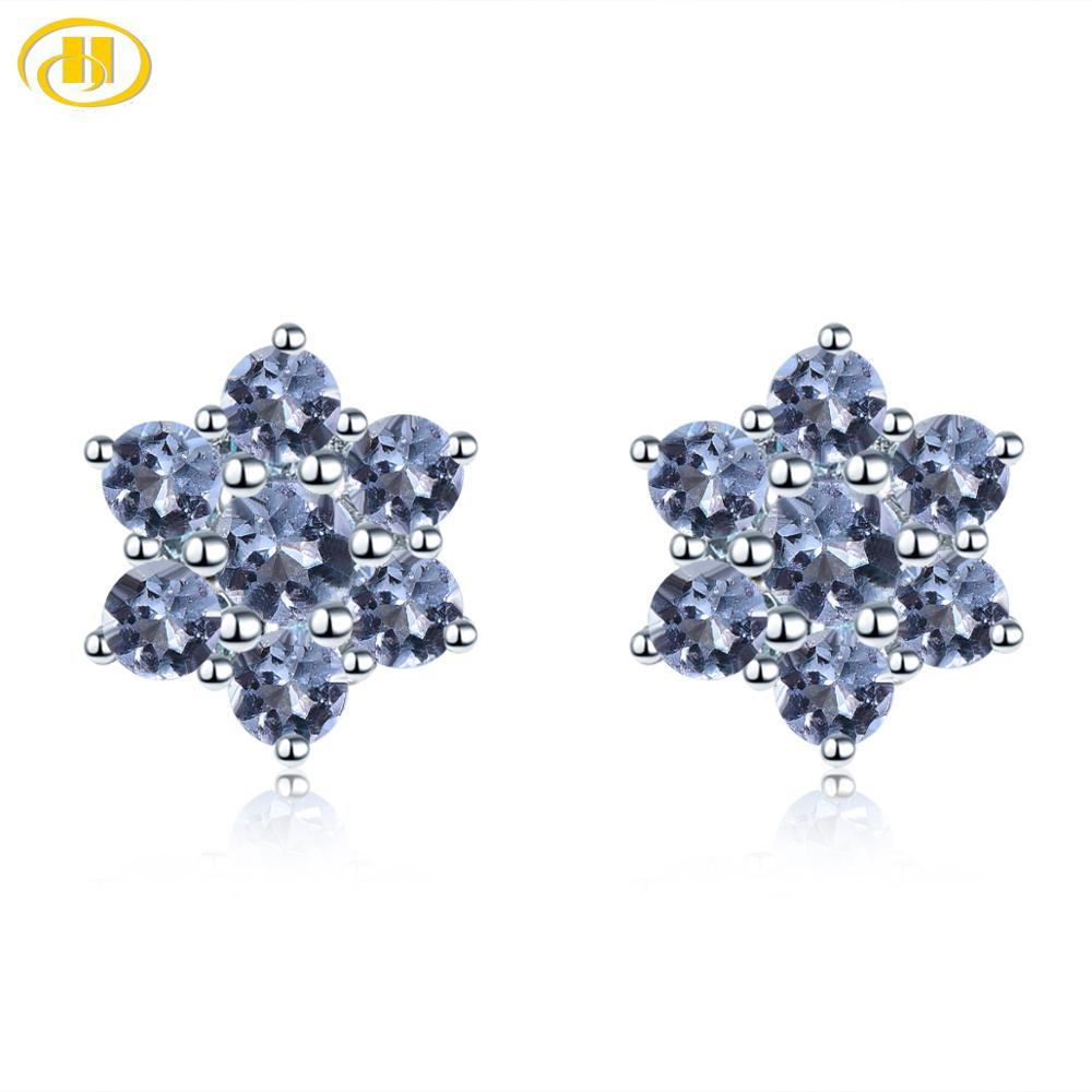 Hutang Genuine Tanzanite 925 Silver Stud Earrings Solid 925 Sterling Silver Purple Gemstone Fine Elegant Jewelry For Women Girls