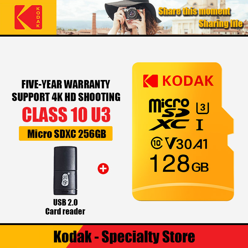 100%Kodak U3 Memory Card 32GB 512GB 128GB 256GB 64GB Micro SD Card TF Flash Card Micro Carte  Card Add Card Reader286