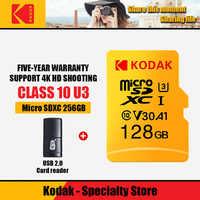100% Kodak U3 tarjeta de memoria 32GB 512GB 128GB 256GB 64GB Micro SD tarjeta TF tarjeta Flash Tarjeta de tarjeta micro carta tarjeta añadir tarjeta reader286
