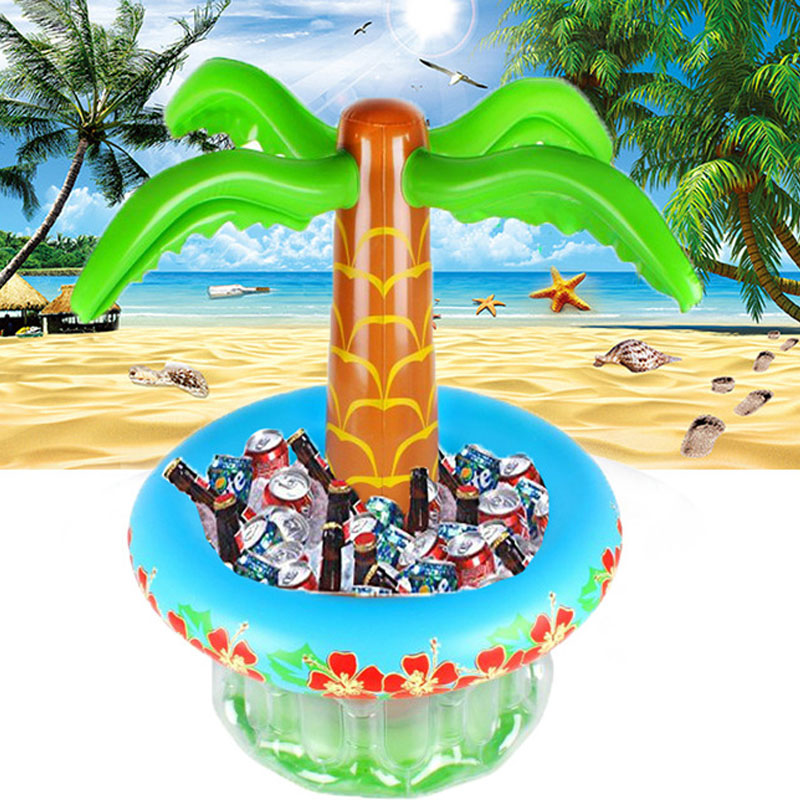 Inflatable PVC Beverage Cooler Coconut Tree Decoration Ice Bucket Swimming Pool Basin Birthday Fruit Party Beach Accessories