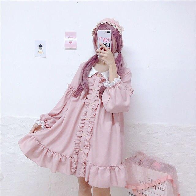 MAGOGO Doll Ruffles Lolita Dress Women New  Peter Pan Collar Pink Cute Sweet Dress Soft Sisters Costume Dress 2