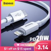 Baseus usb cケーブルiphone 12 11 20ワットpd高速充電usb cに照明ケーブルiphone 8 xr充電器データusbタイプcケーブル