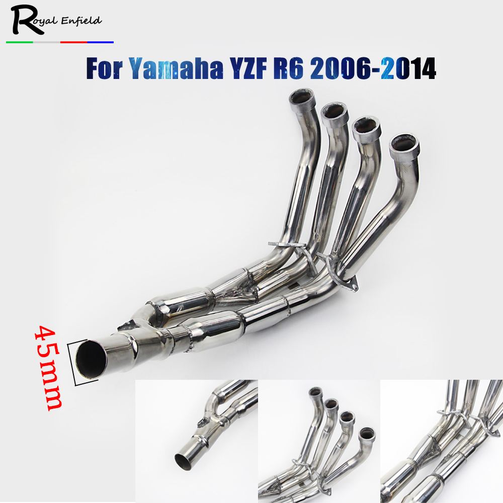 Exhaust Downpipes Headers Pipes Stainless Steel R 6 High quality For Yamaha 2006-2014 YZF R6 2013 2012 2011 2010 2009 2008 2007 image